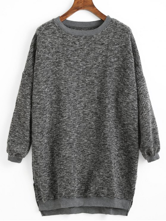 ladies High Low Hem Side Slit Sweater - DEEP GRAY ONE SIZE