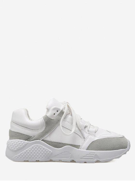 trendy Low Top Color Block Sneakers - WHITE 36