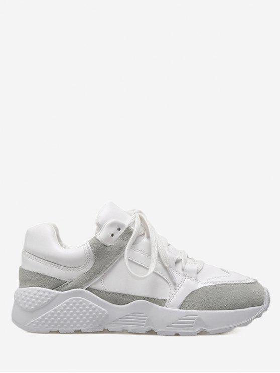 Niedrige, farbige Block Sneakers - Weiß 36