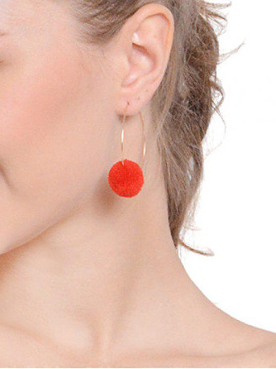 Round Fuzzy Ball Hoop Earrings - Vermelho