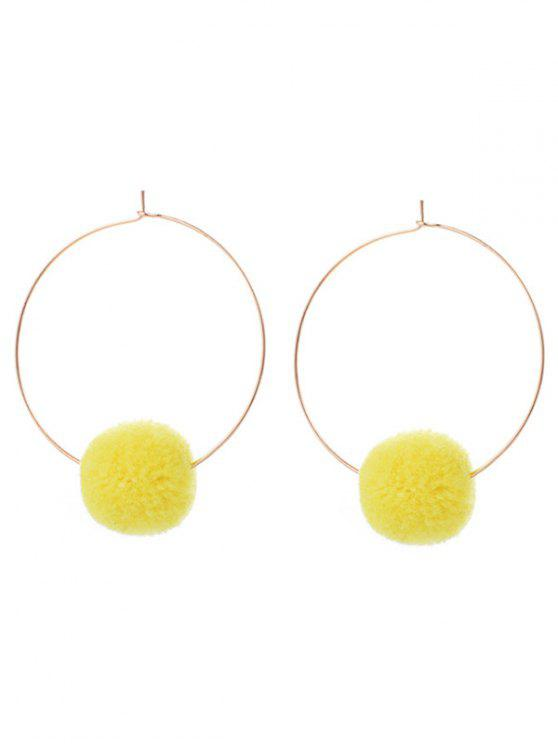 S Round Fuzzy Ball Hoop Earrings Yellow