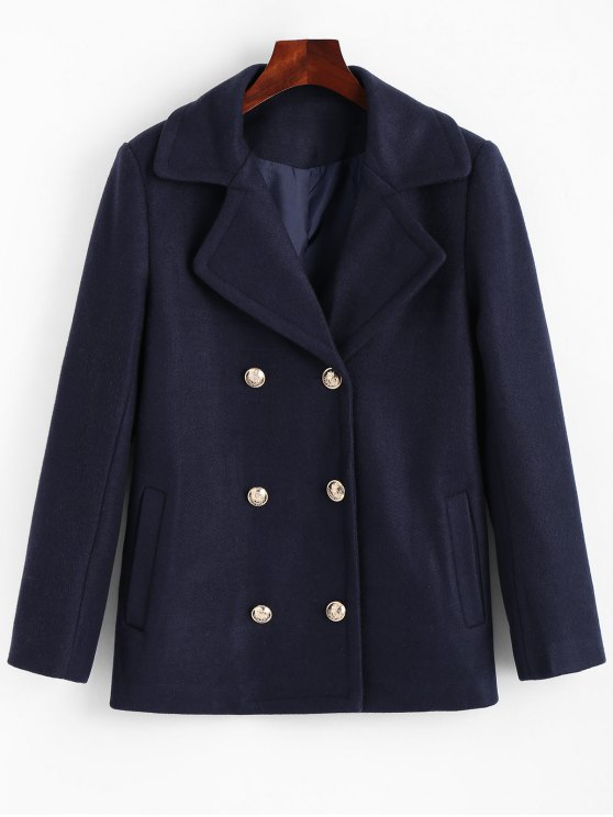 chic Lapel Collar Pea Coat with Pockets - CERULEAN S