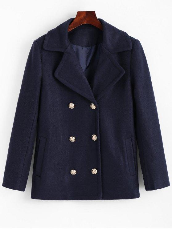 Zweireiher Reverskragen Mantel mit Taschen - Cerulean XL