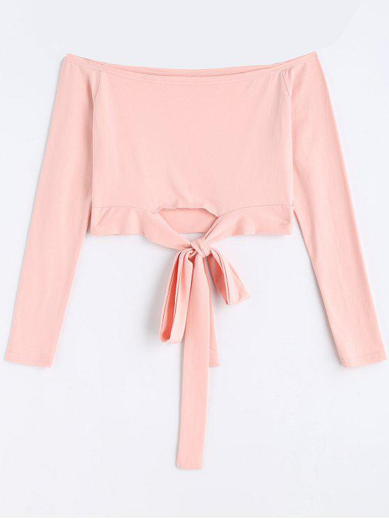 chic Bowknot Cropped Off Shoulder Top - PINK XL