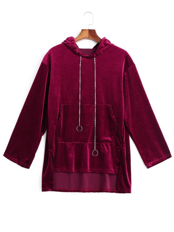 womens Chain Velvet Tunic Hoodie - WINE RED ONE SIZE
