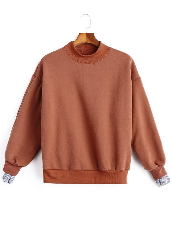 lady Mock Neck Stripe Panel Fleece Sweatshirt - RUSSET-RED ONE SIZE