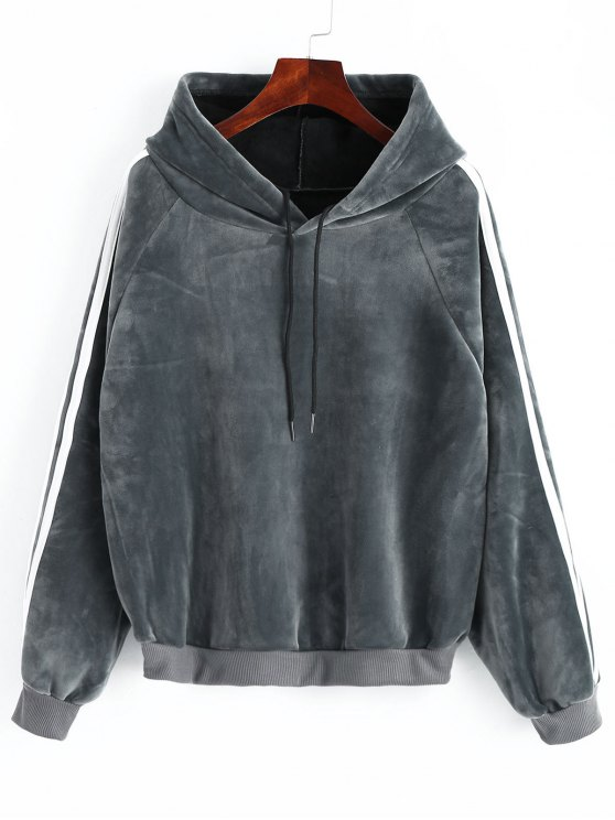 new Striped Sleeve Velvet Hoodie - GRAY ONE SIZE