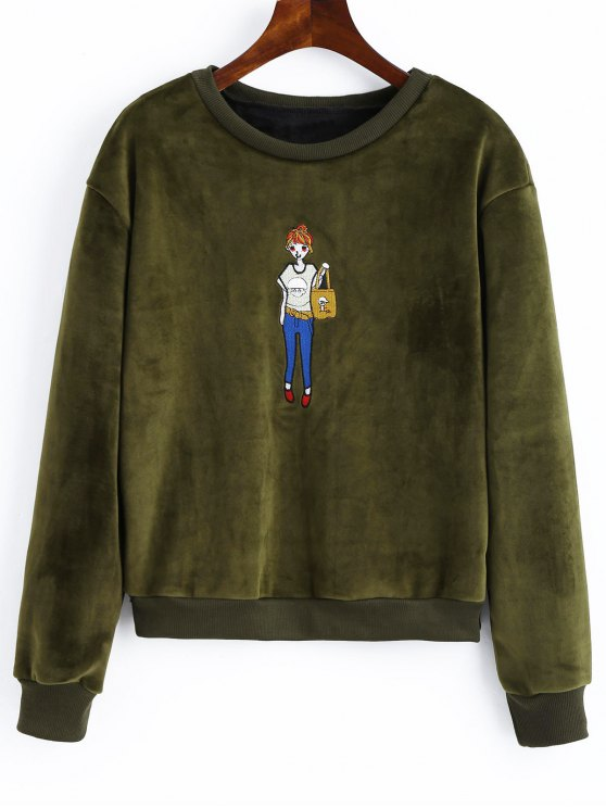 latest Embroidered Velvet Sweatshirt - ARMY GREEN ONE SIZE