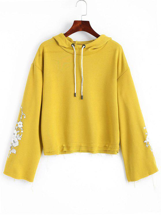 sale Frayed Hem Floral Embroidered Hoodie - MUSTARD ONE SIZE