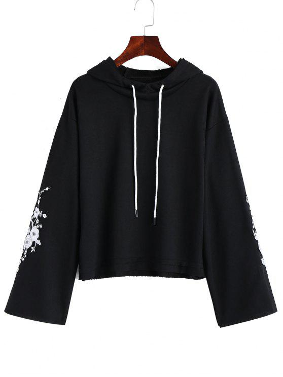 buy Frayed Hem Floral Embroidered Hoodie - BLACK ONE SIZE