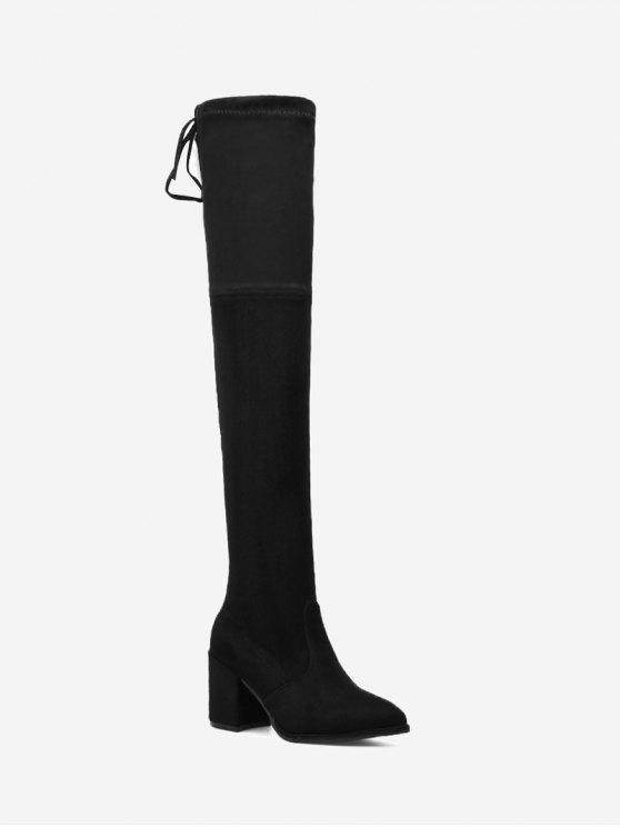 Botas altas de tacón alto con punta en punta - Negro 38