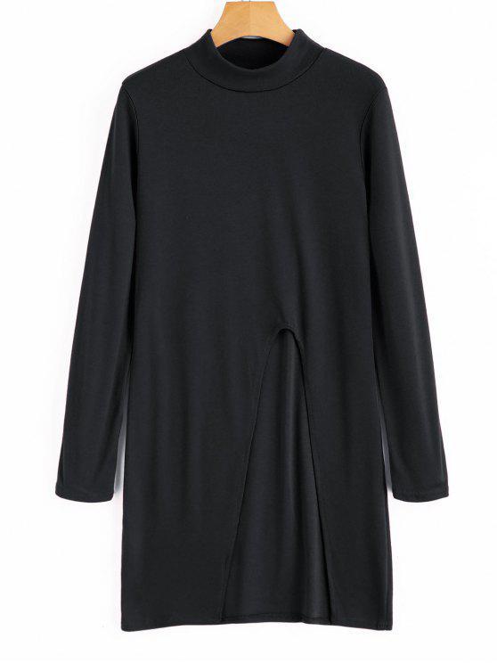 بلوزة طويلة برقبة عالية - أسود XL