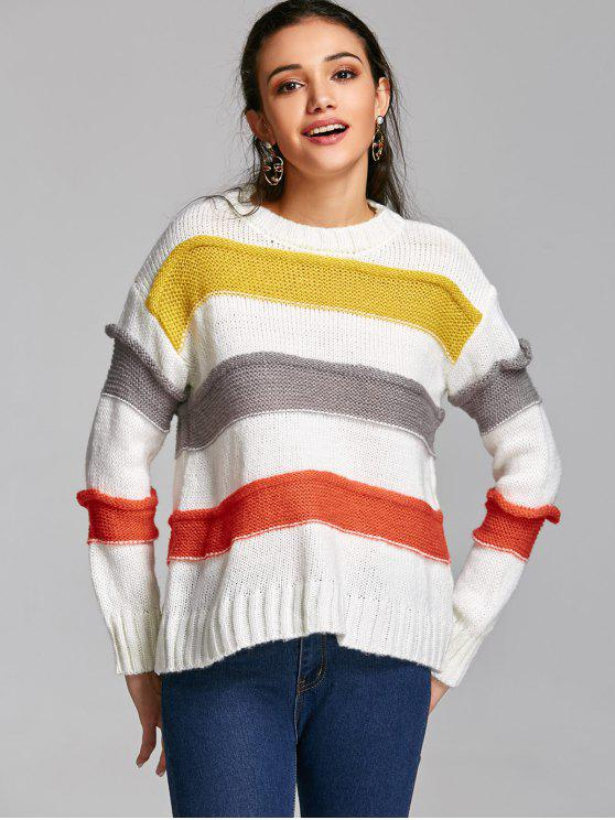 chic Pullover Textured Stripes Sweater - STRIPE ONE SIZE
