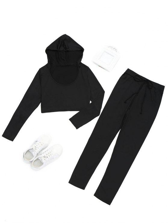 shop Hooded Cropped Top and Sports Drawstring Pants - BLACK S