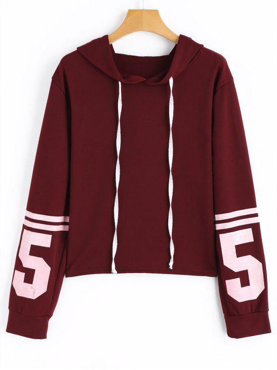 fancy Contrasting Drawstring Number Hoodie - WINE RED L