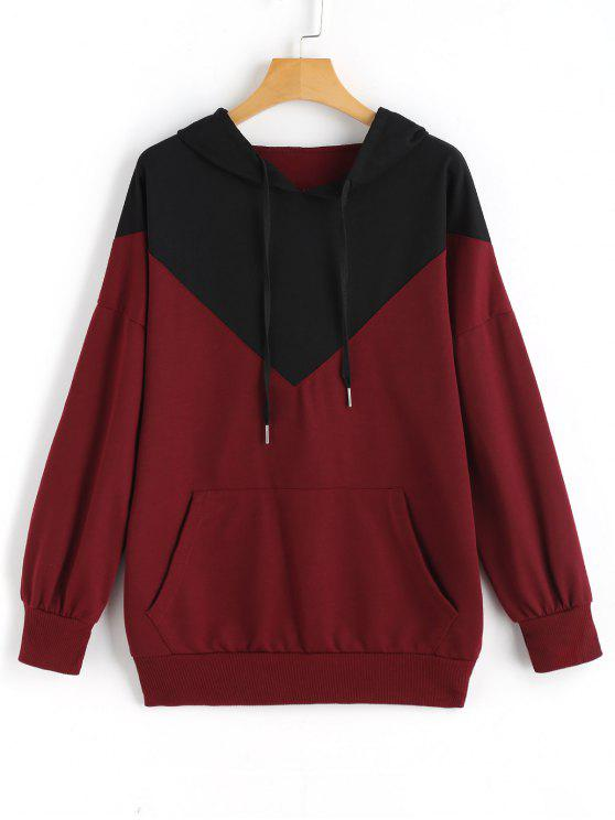 shop Drawstring Loose Two Tone Hoodie - WINE RED S