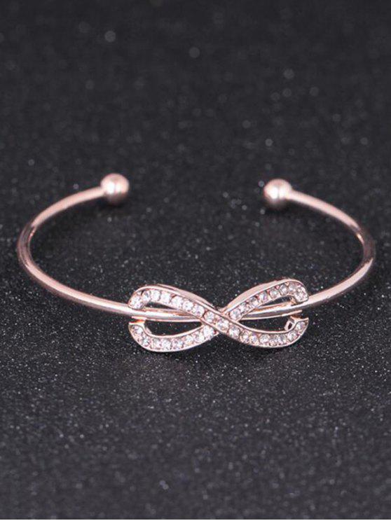 Rhinestoned Infinite Cuff Bracelet - Rosa Dourado