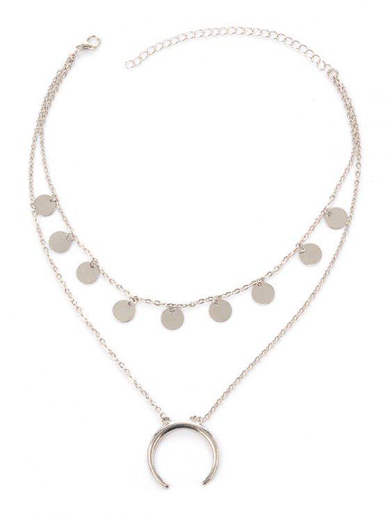 Mondscheibe geschichteten Tribal Halskette - SILVER
