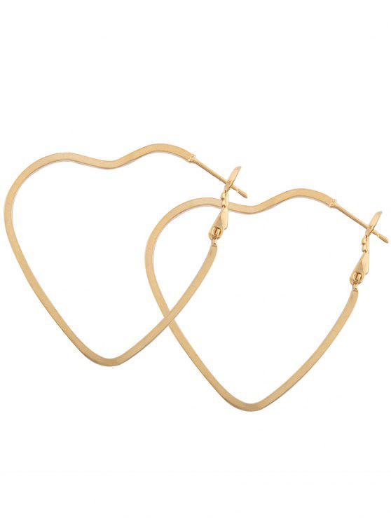 Orecchini di cerchio del cuore del metallo delle leghe - Oro