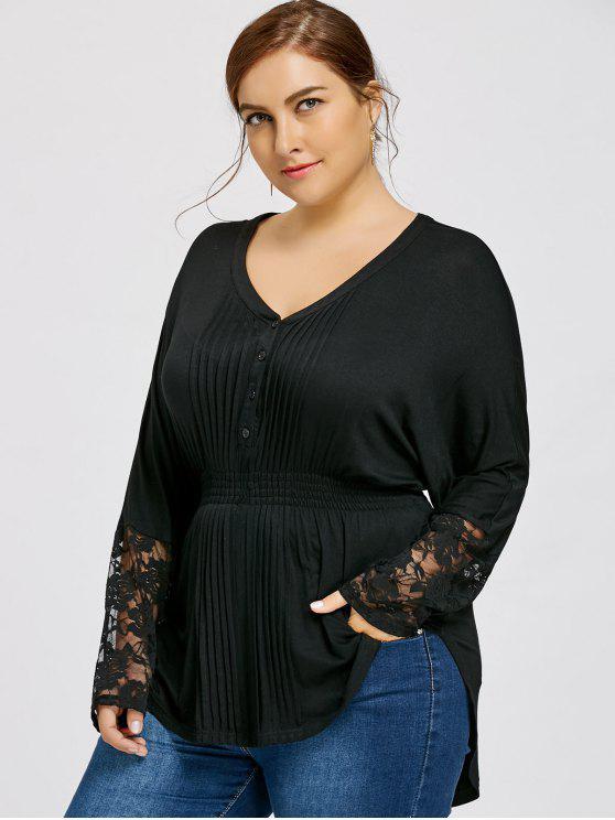 shop Lace Panel Plus Size V-neck Pleated Blouse - BLACK 5XL