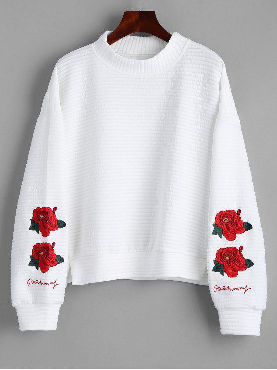 Camisola bordada floral do pescoço da rachadura da fenda - Branco M