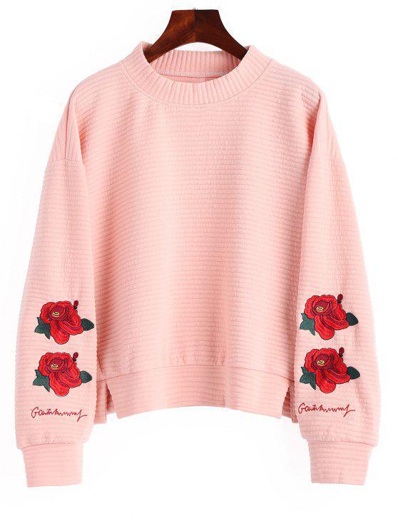 Sweat-shirt Brodé à Fleurs Fendu à Col Montant - Rose  XL