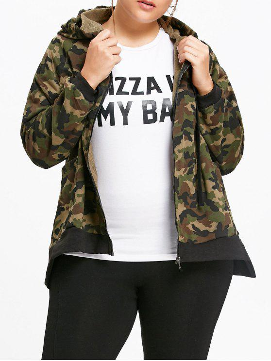 48d6842af29 30% OFF  2019 Plus Size Camouflage Zip Up Hooded Jacket In ARMY ...