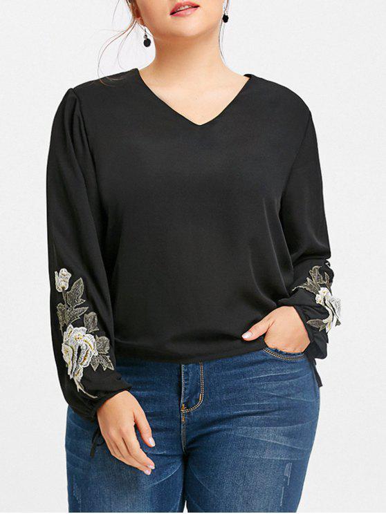 afe7f124def 63% OFF  2019 Plus Size V Neck Floral Applique Blouse In BLACK XL ...
