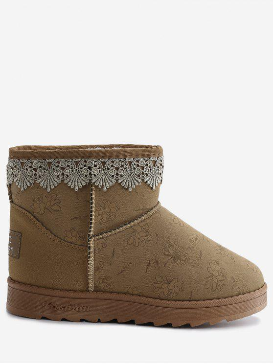 Flower Print Lacework Panel Suede Snow Boots - Yellow 36 sale shop offer iVYF0L5