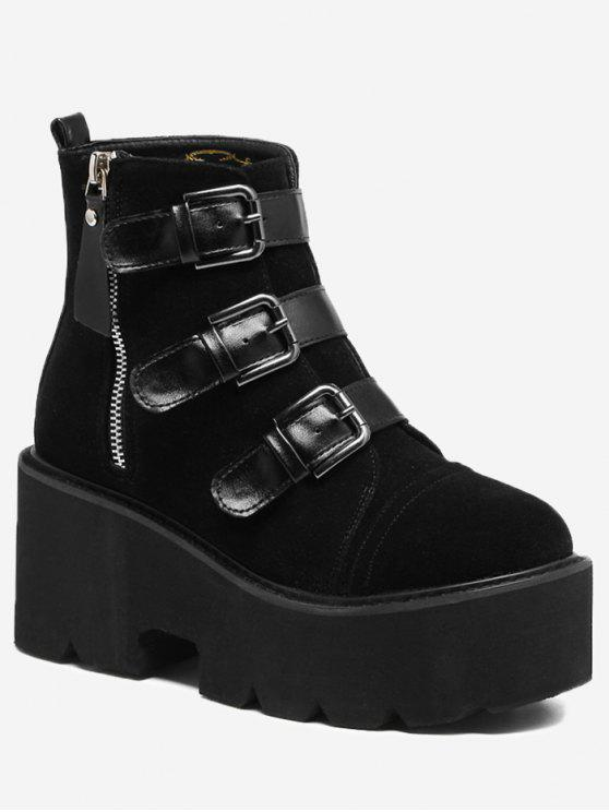 lady Platform Multi Buckles Side Zip Boots - BLACK 35