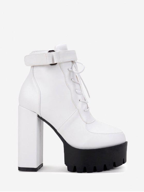 b9830278d8a 44% OFF  2019 Lug Sole Faux Leather Ankle Boots In WHITE