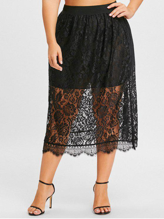 hot Plus Size Lace Midi Skirt - BLACK 3XL