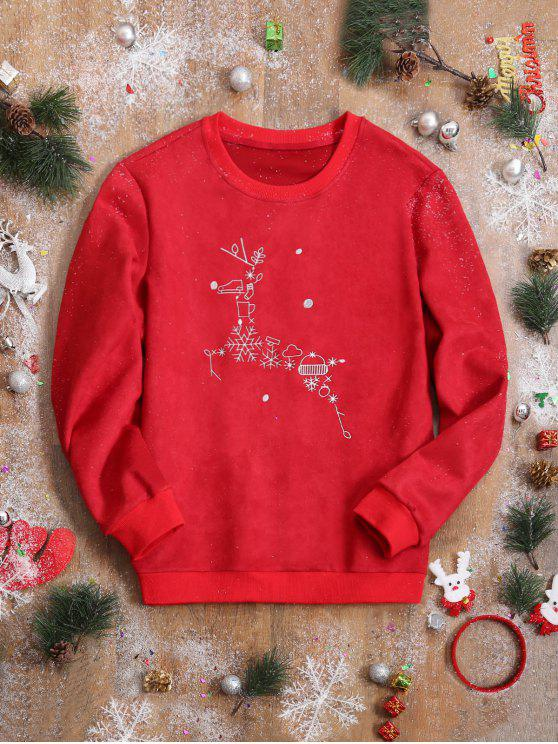 b44d46f99bb5d 35% OFF] 2019 Suede Christmas Reindeer Sweatshirt In RED | ZAFUL