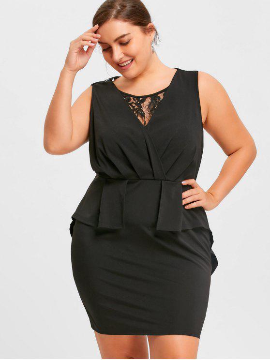 Plus Size Lace Trim Sleeveless Sheath Dress BLACK