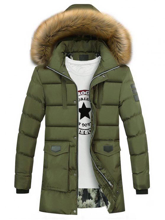 Kunstpelzkragen Taschen Zip Up Daunenmantel - Armeegrün 3XL