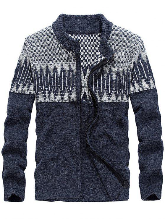 Farbblock Jacquard Pullover Strickjacke - Blau 2XL