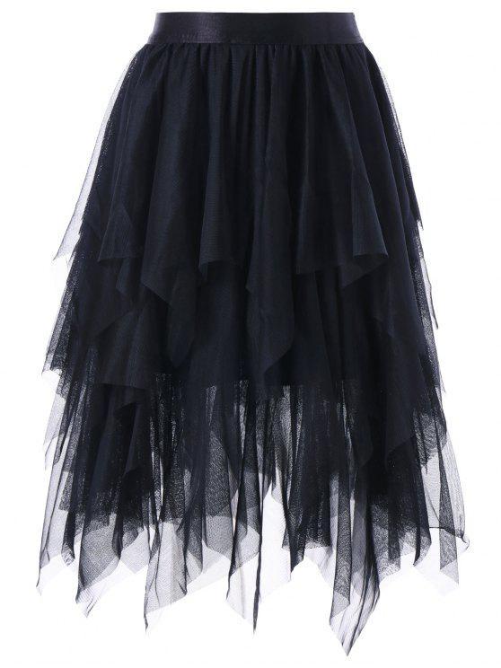 الطبقات غير المتماثلة تول تنورة - أسود XL