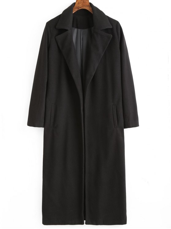 trendy Lapel Coat with Pockets - BLACK M
