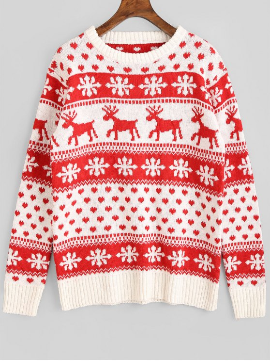 shop Snowflake Deer Graphic Christmas Sweater - RED ONE SIZE