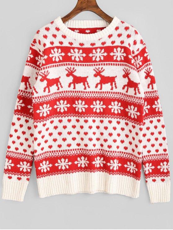 Suéter Natalino com Estampa Gráfica de Flocos de Neve e Veados - Vermelho Tamanho único