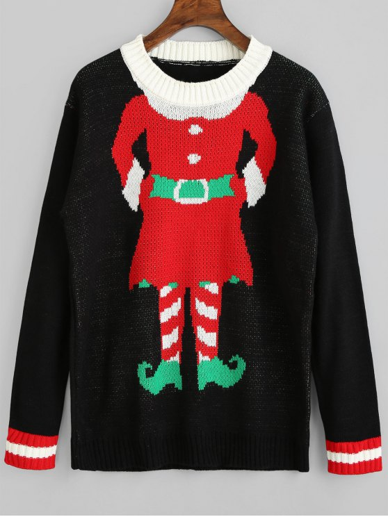 shops Graphic Christmas Pullover Sweater - BLACK ONE SIZE