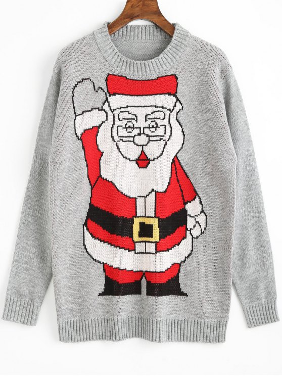 latest Santa Claus Christmas Sweater - GRAY ONE SIZE