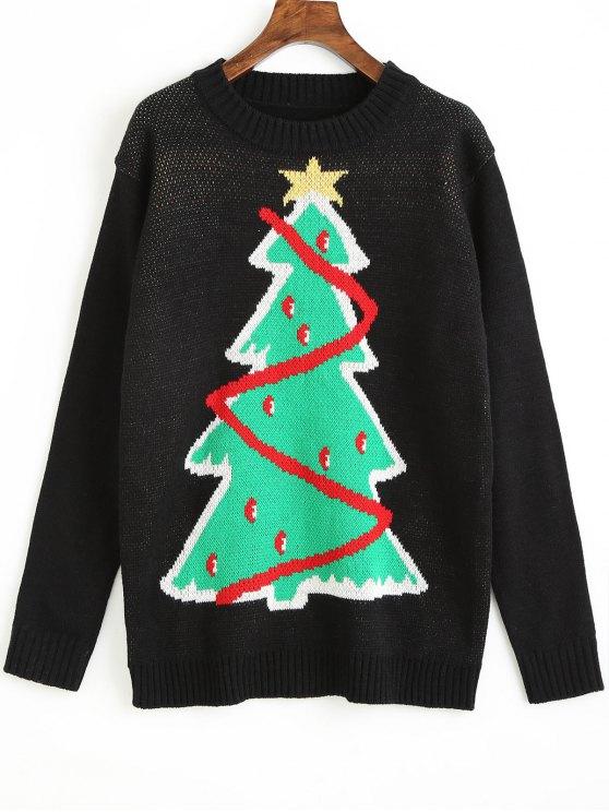 Weihnachtsbaum-Grafik-Pullover - Schwarz Eine Größe