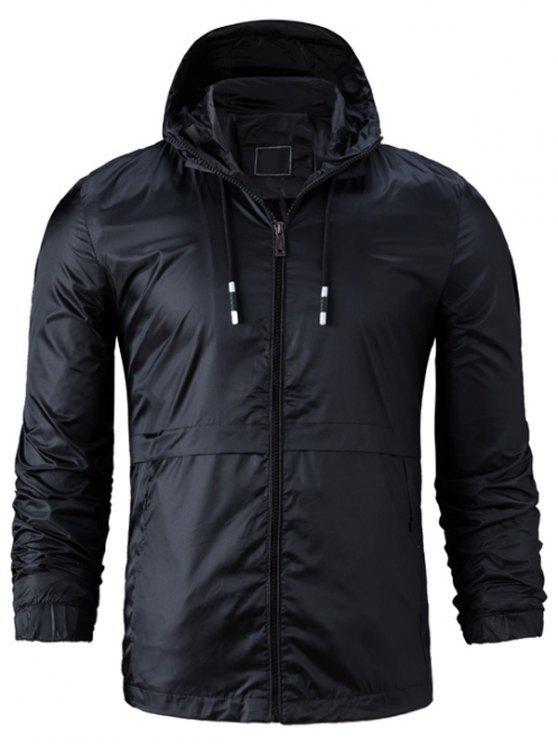 Kapuzenpullover mit Reißverschluss, leichte Jacke - Schwarz 2XL