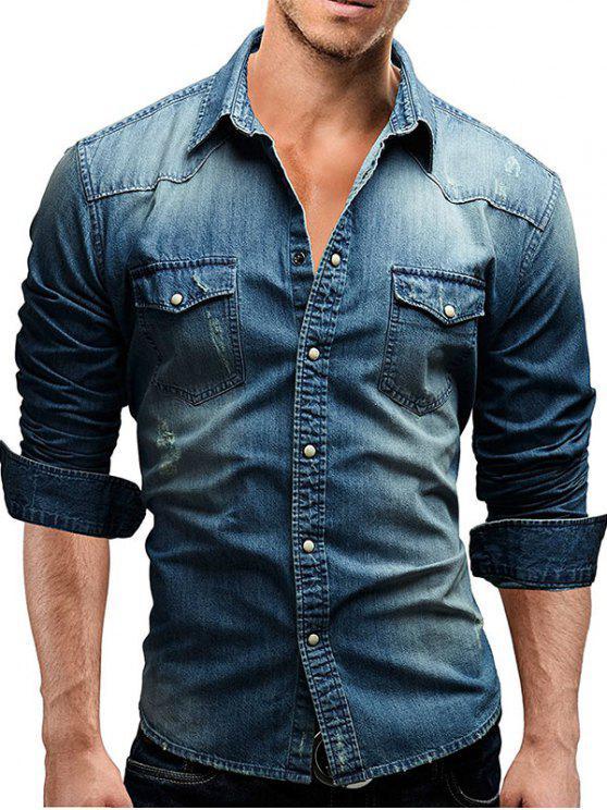 رفرف الصدر جيب طويل الأكمام الدنيم قميص - أزرق XL