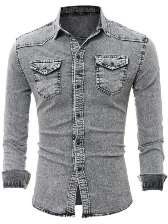 رفرف الصدر جيب طويل الأكمام الدنيم قميص - رمادي 3XL