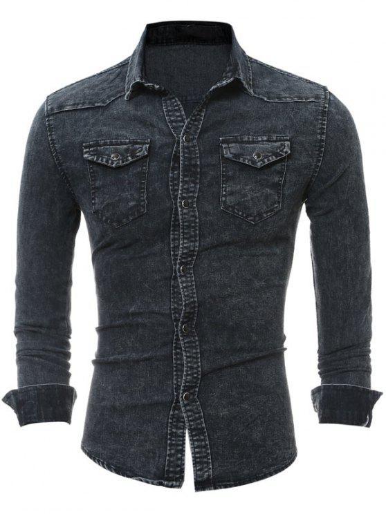 قميص رفرف الصدر جيب طويل الأكمام الدنيم - أسود XL