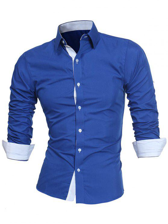 Turndown Collar Panel Design Camisa Formal - Azul 2XL