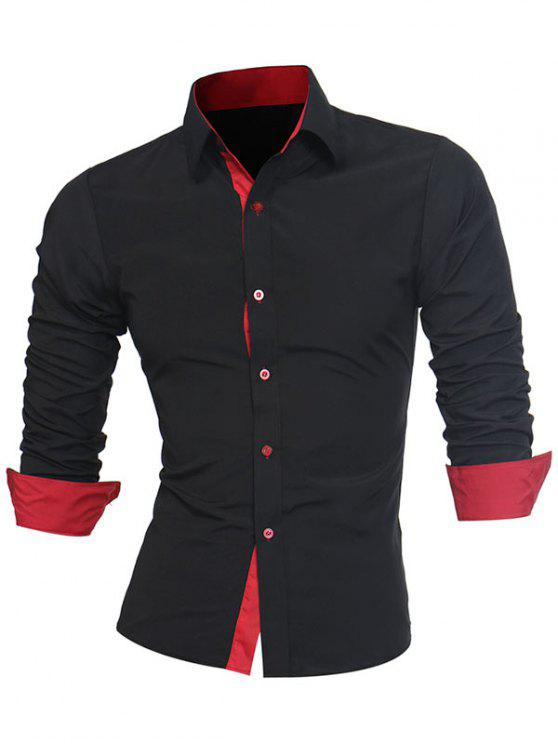 Turndown Collar Panel Design Camisa Formal - Negro y Rojo 3XL