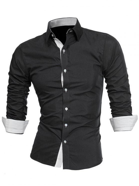 Camisa Formal de Design de Painel de Colar Turndown - Branco e Preto L